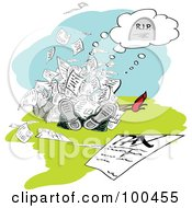 Royalty Free RF Clipart Illustration Of A Pile Of People Dead Under Tax Documents by MacX