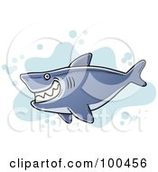Royalty Free RF Clipart Illustration Of A Chubby Grinning Shark Over Blue Splatters by Qiun