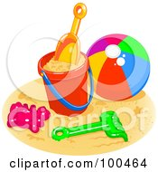 Royalty Free RF Clipart Illustration Of A Beach Ball By A Bucket Shovel And Rake On A Sandy Beach