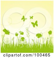Royalty Free RF Clipart Illustration Of A Spring Background Of Green Silhouetted Grass Plants And Butterflies Against A Yellow Sky by Pushkin
