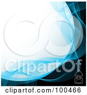 Royalty Free RF Clipart Illustration Of A Curved White Background Bordered In Blue Mesh Waves And Black With An Upload Icon