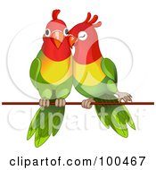 Royalty Free RF Clipart Illustration Of A Pair Of Lorikeets Cuddling On A Wire by Pushkin