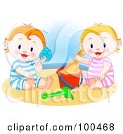 Little Boy And Girl Playing In The Sand And Listening To A Sea Shell On A Beach