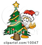 Clipart Picture Of A Computer Mouse Mascot Cartoon Character Waving And Standing By A Decorated Christmas Tree