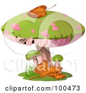Royalty Free RF Clipart Illustration Of An Autumn Leaf Atop A Green And Pink Mushroom
