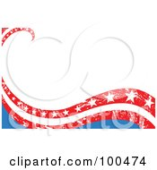 Royalty Free RF Clipart Illustration Of A Background Of Patriotic American Waves With Stars