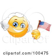 Royalty Free RF Clipart Illustration Of A Yellow George Washington Smiley Face Holding An American Flag