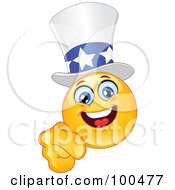 Royalty Free RF Clipart Illustration Of A Yellow Uncle Sam Smiley Face Pointing