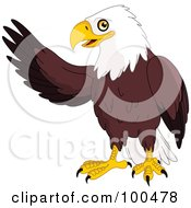 Royalty Free RF Clipart Illustration Of A Friendly Bald Eagle Waving With One Wing