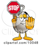 Computer Mouse Mascot Cartoon Character Holding A Stop Sign