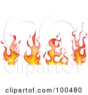 Royalty Free RF Clipart Illustration Of A Digital Collage Of Four Different Red And Orange Flames