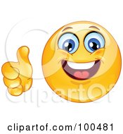 Royalty Free RF Clipart Illustration Of A Yellow Smiley Face Holding A Thumb Up by yayayoyo #COLLC100481-0157