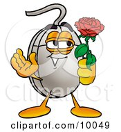 Computer Mouse Mascot Cartoon Character Holding A Red Rose On Valentines Day