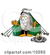 Computer Mouse Mascot Cartoon Character Camping With A Tent And Fire