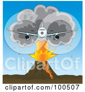 Royalty Free RF Clipart Illustration Of A Commercial Airliner Flying Away From A Plume Of Ash Over A Volcano
