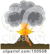Royalty Free RF Clipart Illustration Of A Bursting Volcano With An Ash Cloud