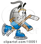 Clipart Picture Of A Computer Mouse Mascot Cartoon Character Playing Ice Hockey