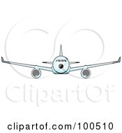Royalty Free RF Clipart Illustration Of A Commercial Airplane Flying Forward
