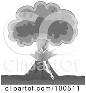 Royalty Free RF Clipart Illustration Of A Grayscale Exploding Volcano With A Plume Of Ash by Paulo Resende