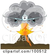 Royalty Free RF Clipart Illustration Of An Airliner Flying Away From A Plume Of Ash Over A Volcano by Paulo Resende