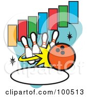 Royalty-Free Rf Clipart Illustration Of An Orange Bowling Ball Knocking Over Pins With Text Rectangles And An Oval