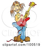 Royalty Free RF Clipart Illustration Of A Male Guitarist Playing A Red Electric Guitar
