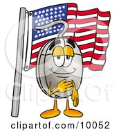 Computer Mouse Mascot Cartoon Character Pledging Allegiance To An American Flag