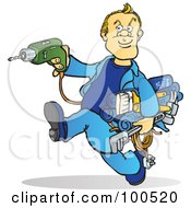 Royalty Free RF Clipart Illustration Of A Blond Handy Man Running With Tools In His Hands by Snowy #COLLC100520-0092