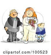 Royalty Free RF Clipart Illustration Of A Happy Bride And Groom With A Page Boy