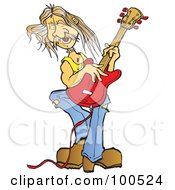 Royalty Free RF Clipart Illustration Of A Male Rocker Playing A Red Electric Guitar