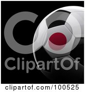 Royalty Free RF Clipart Illustration Of A Shiny 3d Japanese Flag Soccer Ball Over Black by stockillustrations