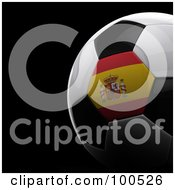 Royalty Free RF Clipart Illustration Of A Shiny 3d Spanish Flag Soccer Ball Over Black by stockillustrations