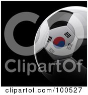 Royalty Free RF Clipart Illustration Of A Shiny 3d South Korean Flag Soccer Ball Over Black by stockillustrations