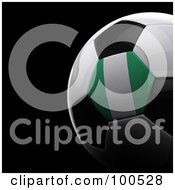 Royalty Free RF Clipart Illustration Of A Shiny 3d Nigeria Flag Soccer Ball Over Black by stockillustrations