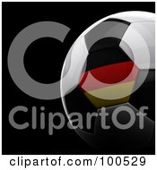 Royalty Free RF Clipart Illustration Of A Shiny 3d German Flag Soccer Ball Over Black by stockillustrations