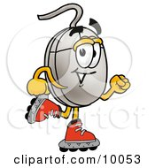 Computer Mouse Mascot Cartoon Character Roller Blading On Inline Skates