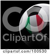 Royalty Free RF Clipart Illustration Of A Shiny 3d Italian Flag Soccer Ball Over Black by stockillustrations