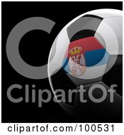 Royalty Free RF Clipart Illustration Of A Shiny 3d Serbia Flag Soccer Ball Over Black by stockillustrations
