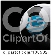 Royalty Free RF Clipart Illustration Of A Shiny 3d Greek Flag Soccer Ball Over Black by stockillustrations