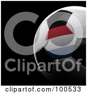 Royalty Free RF Clipart Illustration Of A Shiny 3d Netherlands Flag Soccer Ball Over Black by stockillustrations