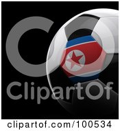 Royalty Free RF Clipart Illustration Of A Shiny 3d Korean Flag Soccer Ball Over Black by stockillustrations