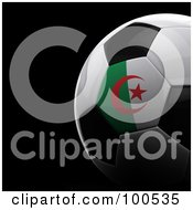 Royalty Free RF Clipart Illustration Of A Shiny 3d Algerian Flag Soccer Ball Over Black by stockillustrations