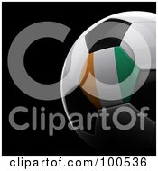 Royalty Free RF Clipart Illustration Of A Shiny 3d Ivory Coast Flag Soccer Ball Over Black by stockillustrations
