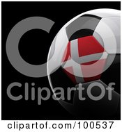 Royalty Free RF Clipart Illustration Of A Shiny 3d Denmark Flag Soccer Ball Over Black by stockillustrations