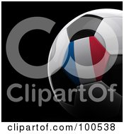 Royalty Free RF Clipart Illustration Of A Shiny 3d France Flag Soccer Ball Over Black by stockillustrations