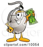 Clipart Picture Of A Computer Mouse Mascot Cartoon Character Holding A Dollar Bill by Toons4Biz