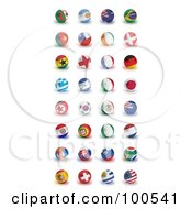 Digital Collage Of Patriotic Orbs Of The Soccer World Cup 2010 Participating Countries