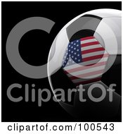 Royalty Free RF Clipart Illustration Of A Shiny 3d American Flag Soccer Ball Over Black by stockillustrations