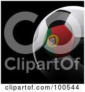 Royalty Free RF Clipart Illustration Of A Shiny 3d Portugal Flag Soccer Ball Over Black