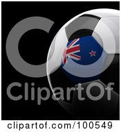 Royalty Free RF Clipart Illustration Of A Shiny 3d New Zealand Flag Soccer Ball Over Black